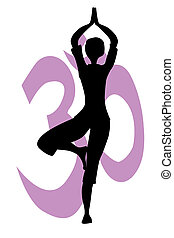 The Yogga tree pose silhouette against the Om sign