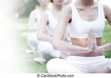 yoga, trening, park