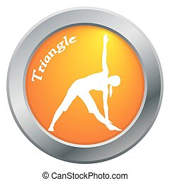 Yoga Triangle Pose Orange Icon