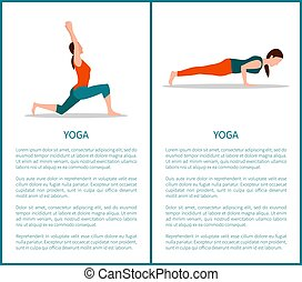 Yoga Two Colorful Banners, Sporty Woman Icons - Yoga two...