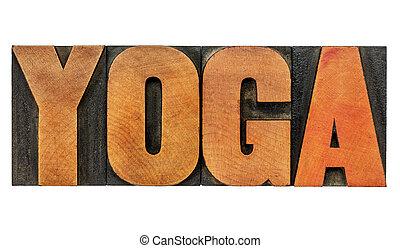 yoga, type, bois, mot