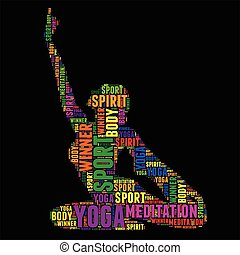 yoga Typography word cloud colorful Vector illustration