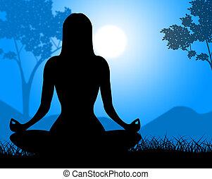 yoga upozowują, widać, odprężając, duchowość, i, spokój