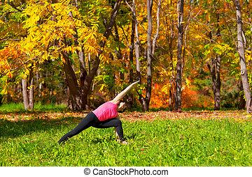 yoga, utthita, parshvakonasana, postura