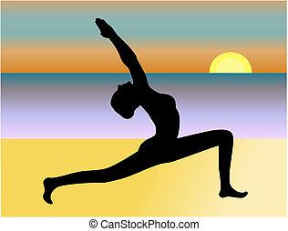 yoga, vecteur, plage