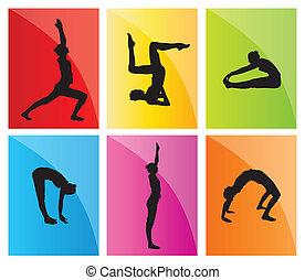 Yoga vector background set