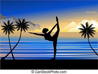 Yoga - A woman doing yoga at the beautiful beach