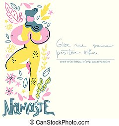 Yoga vector lettering. Namaste. Man in tree asana. Flat...