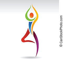 yoga, vektor, träd framställ, logo