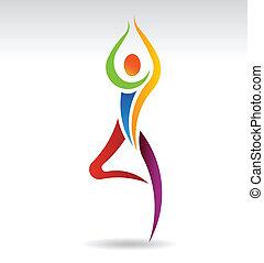 yoga, vektor, træ poser, logo