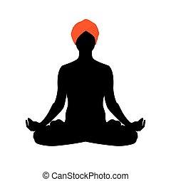 yoga, vettore, silhouette