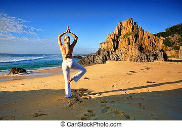 yoga, vivere, uno, sforzo liberamente, sano, vita