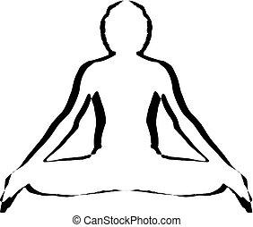 yoga, vlakte, duidelijk, pose, vector, logo, meditatie