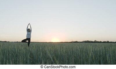 Yoga vrikshasana tree pose by woman in field - Yoga...