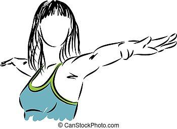 yoga, vrouw, illustra, fitness