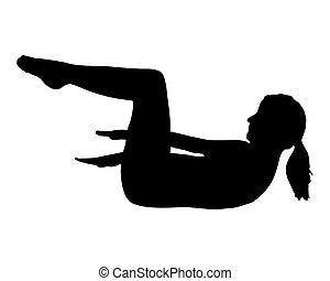 yoga, vrouw, silhouette