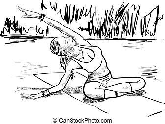 yoga, vrouw, strand, schets