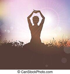 yoga, vrouwlijk, sunst