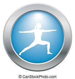 Yoga Warrior Pose Blue Icon