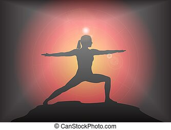 Yoga Warrior Pose Glare Background