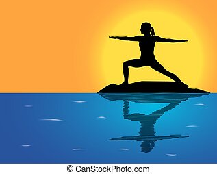 Yoga Warrior Pose Sea Background