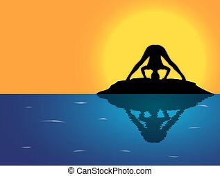 Yoga Wide Leg Forward Fold Pose Sea Background