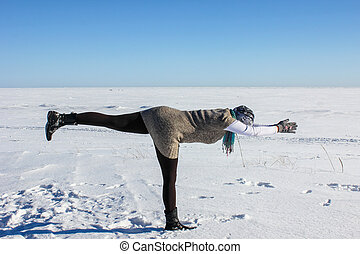 Yoga. Winter. Outdoors.