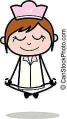 Yoga with Smiling Face - Retro Cartoon Waitress Female Chef Vector Illustration