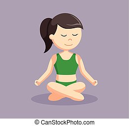 yoga woman cross sitting