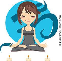 Yoga Woman - Cute brunette woman doing yoga lotus position...