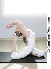 yoga woman fitness girl in white meditation at gym