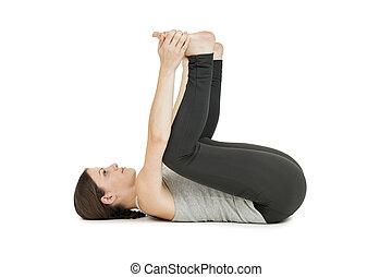 yoga woman gray supta baddha konasana right increased