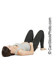 Yoga woman gray_anada balasana_variation - Flat angular full...