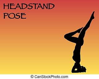Yoga Woman Headstand Pose