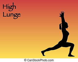 Yoga Woman High Lunge Pose - A yoga woman performing High...