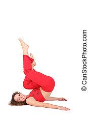 yoga woman lies , legs up