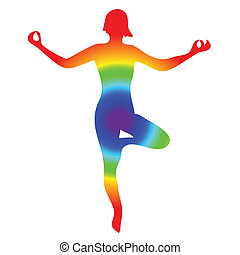 Yoga woman silhouette on a white background. Vector illustration.