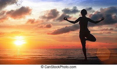 Yoga woman silhouette standing