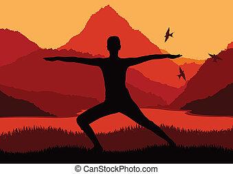 Yoga woman sunrise vector background