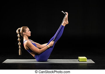 Yoga woman taking selfie