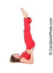 yoga woman training, legs up