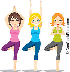 Three attractive women exercising yoga tree asana posture standing on one leg