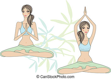 yoga women - yoga girls sitting in lotus pose, vector