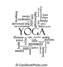 Yoga Word Cloud Concept in black and white