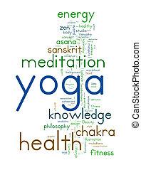 YOGA. Word collage on white background. illustration.