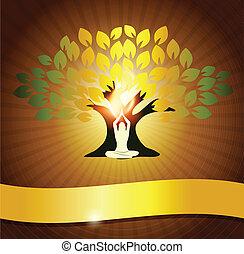 yoga, y, árbol