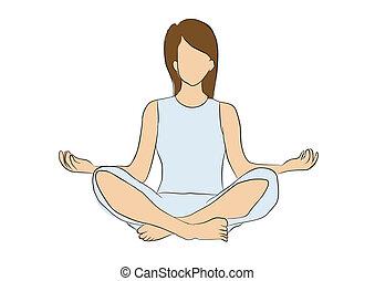 yoga, y, concentrado