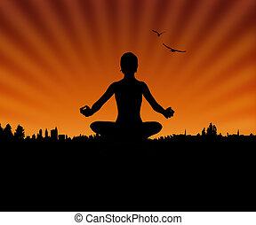 yoga, y, ocaso