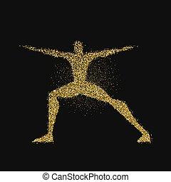 yoga, złoty, poza, sylwetka, blask, człowiek