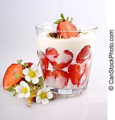 yoghurt, aardbei, bloemen, glas, graan